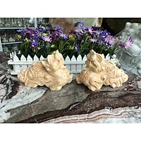 Cặp Tỳ Hưu phong thủy đá cẩm thạch vàng cà rốt - Dài 20 cm