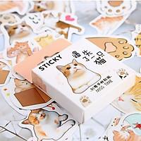 Hộp 46 Miếng Dán Sticker Trang Trí Mèo Biểu Cảm Nhật Bản