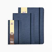 Combo 2 quyển Sổ da Minh Châu, vân vải, có chun cài