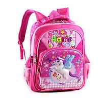 Balo học sinh cấp 1, bé gái, HAMI B1H2009 - hàng chính hãng, hàng Việt Nam Chất lượng cao (hồng đậm phối hồng nhạt, hình ngựa Pony, họa tiết ngẫu nhiên)