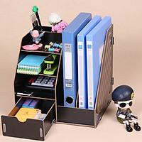 Kệ gỗ để bàn đựng tài liệu sách vở đồ dùng Homebi HB-KG01 (Nâu Cafe)