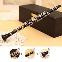 Mini Clarinet Model Musical Instrument Miniature Desk Decor Display with black leather box + bracket