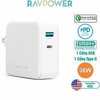 Adapter Sạc USB Type-C Cho Macbook RAVPower 36W  RP-PC080 - Hàng Chính Hãng
