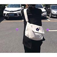 Túi vải đeo chéo BÔNG HOA chất vải Canvas dáng Unisex 2 màu ĐỰNG VỪA KHỔ A4