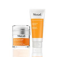 SET Kem thải độc ban đêm, làm sạch sâu Murad City Skin Overnight Detox Moisturizer + Sữa rửa mặt Murad Essential-C Cleanser