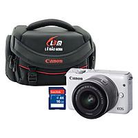 Combo Máy ảnh Canon M10 kit 15-45mm STM (Trắng) - Hàng Chính Hãng + Thẻ 16GB + Túi