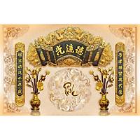 Tranh dán tường 3D phòng thờ chữ phúc - tranh cuốn thư câu đối phòng thờ- tranh trang trí phòng thờ- vải lụa