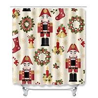 Multicolor / / 1PCS -- Christmas Series Bathroom Decoration Snowman Pattern Waterproof Shower Curtain Absorb Water Dust Slip Resistance