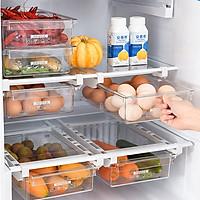 Ngăn kéo tủ lạnh thông minh mở rộng, khay tủ lạnh bằng nhựa trong suốt, tiết kiệm diện tích tủ lạnh, bảo quản thực phẩm