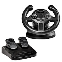 PC Racing Wheel, 90 Degree USB Vibration Car Race Steering Wheel with Pedals for PS3/PC, Black
