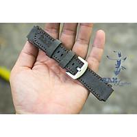 Dây đồng hồ da bò cho Casio AE1200 WHD và Seiko 5 37mm  (Tặng Khóa + Cây thay dây + 2 chốt) - Da bò lộn xám than Đức