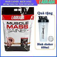 Thực phẩm hỗ trợ Tăng cân Tăng Cơ Muscle Mass Gainer 5.4 Kg của Labrada + Tặng kèm Bình lắc (Màu ngẫu nhiên) 600ml