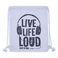 Túi Dây Rút Canvas Cá Chép - Live Life Loud (35 x 40 cm)