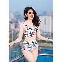 Bộ đồ bơi đi tắm biển nữ 2 mảnh áo crop top quần bơi hoa sang chảnh