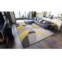 Thảm trải sàn Sofa sang trọng hiện đại trang trí phòng khách Bali in 3D Nhung nỉ lì cao cấp BL09 - Khối tròn vàng