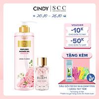 Bộ đôi sữa tắm nước hoa & nước hoa nữ Cindy Bloom Aroma Flower mùi hương ngọt ngào nữ tính 640g + 30ml