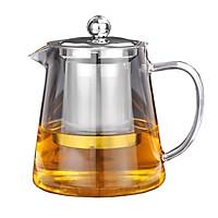 Bình pha trà thủy tinh crystan có lõi lọc trà  và nắp inox - ANTH459