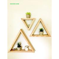 Kệ gỗ tam giác treo tường, trang trí nội thất, decor