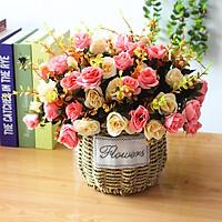 Hoa lụa, giỏ hoa giả để bàn trang trí phòng khách, bàn làm việc, kệ tủ phong cách mới Anzzar GH10
