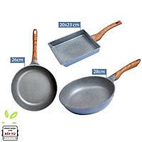 Combo 3 chảo đúc chống dính vân đá ceramic cao cấp Hàn Quốc dùng được bếp từ màu xanh (size 26cm, 28cm và chảo vuông 20x23cm) - Hàng chính hãng