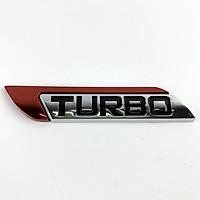 Tem kim loại chữ TURBO dán trang trí ô tô (Trắng Phối Đỏ)