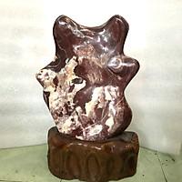 Cây đá tự nhiên để bàn màu hồng đỏ chất đá canxite nặng hơn 13 kg cao 47 cm cho người mệnh Thổ  và Hỏa.Hình cánh hoa