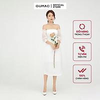Đầm dáng ôm nữ hở vai GUMAC màu trắng đầm dự tiệc sang trọng DB541