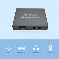 Thẻ ghi video trò chơi 4K HD Thiết bị ghi 1080P 60FPS USB3.0 có cổng ra âm thanh MIC IN Đầu ra bằng kim loại