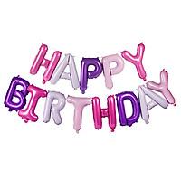Bong bóng chữ Happy Birthday màu hồng tím