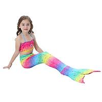 Đồ bơi quần áo tắm nàng tiên cá in mầu sắc cầu vồng đi biển cho bé gái từ 4 đến 10 tuổi  E82