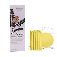 Kem dưỡng da tay thảo mộc Hàn Quốc cao cấp 3W Clinic Acacia Hand Cream (100ml) + Tặng Bông Bọt Biển Massage Mặt Cao Cấp Hàn Quốc Mira (6 miếng/bịch) – Hàng Chính Hãng