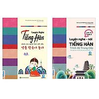 Combo Luyện Nghe Tiếng Hàn Dành Cho Người Mới Bắt Đầu và Trình Độ Trung Cấp tặng sổ tay Vadata