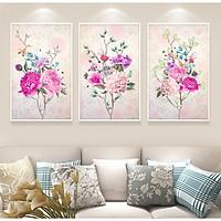 Decal trang trí tường phòng ngủ bộ 3 hoa mẫu đơn hồng Tipo_0270