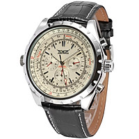 Men's Automatic Mechanical Watch with Leather Strap Fashion Wristwatch Calendar Date Display