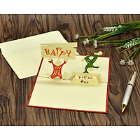 Thiệp 3D handmade Happy birthday, Chúc mừng sinh nhật size 10x15cm BD028