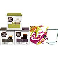 Combo 3 Hộp Cà Phê Viên Nén Nescafe Dolce Gusto Vị Espresso, Americano, Cappucino Kèm 1 Ly Thủy Tinh 2 Lớp Cao Cấp