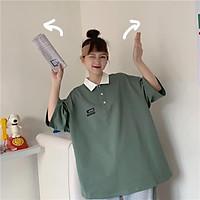 áo thun nữ - áo phông cộc tay phom rộng cổ phối màu 3 màu xinh xắn
