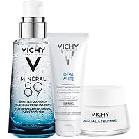 Bộ 3 dưỡng Chất (Serum) Khoáng núi lửa cô đặc Vichy Mineral 89 50ml, kem dưỡng ẩm Aqua Gel Cream 15ml và sữa rửa mặt trắng da Ideal White Foam 15ml