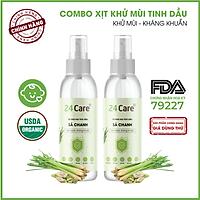 Combo 2 chai Xịt Phòng Tinh Dầu Sả Chanh Hữu Cơ Organic 24Care 100ml/chai - Kháng khuẩn - Khử mùi hôi