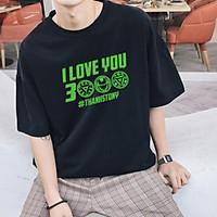 HXẢ HÀNG FREE SHIP Áo Thun Tay Lỡ Unisex Đen Huyền Bí I Love You 3000 | Áo Thun Thiết Kế Chất