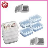 Bộ 8 hộp trữ đông đồ ăn dặm nắp dẻo mini 100ml tặng 2 túi zipper 12cm
