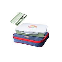 Khay đựng cơm Inox 304 kèm túi đựng bằng vải ,hộp muỗng đũa - 30.8x24.5cm