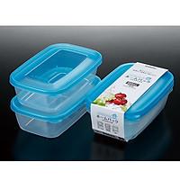 Set 2 hộp đựng thực phẩm K290-3 nắp xanh nhựa trong 1L Nội địa Nhật Bản