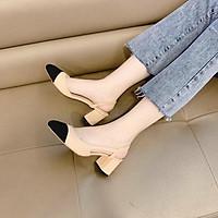 Sandal bít mũi da mịn khoét cạnh gót cao - 5P