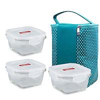 Bộ 3 Thố thủy tinh vuông Lock&Lock 500ml tặng túi giữ nhiệt xanh