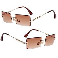 2x Vintage Rectangle Cut Rimless Sunglasses Designer Tinted Lens Eyewear Coffee