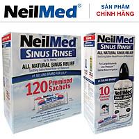 Combo Adult SinusCare : Bình Rửa Vệ Sinh Mũi Xoang Người Lớn NeilMed Sinus Rinse - SX Mỹ, Giải Pháp Tối Ưu hỗ trợ điều trị Viêm Xoang Cấp & Mãn. (Bình 10 gói và Hộp 120 gói muối rửa bổ sung)