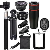 10PCS 8X Telephoto Mobile Phone Lens Universal Detachable Clip-on Lens Wide Angle + Fish Eye + Macro Lens + Selfie Stick