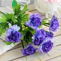 Chùm Hoa Lụa giả 7 Bông Cẩm Chướng Màu xanh Trang Trí
