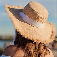 MUICHES Thiết Kế Quai Mũ Rơm Người Phụ Nữ Đi Biển Nón Lớn Vành 2021 Mùa Hè Mới Ngày Lễ
